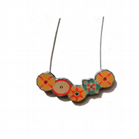 Whimsical & Colourful Flower Power Resin Necklace by EllyMental Jewellery