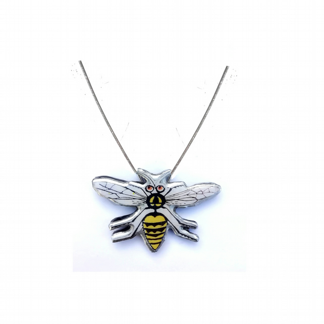 Whimsical Retro Wasp Resin Necklace by EllyMental Jewellery