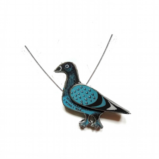 Blue Pigeon Homeward Bound Resin necklace by EllyMental