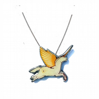 Whimsical Yellow winged Unicorn Kitsch Resin Necklace by Ellymental
