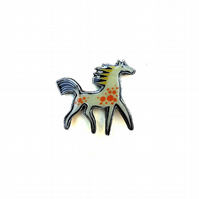 Whimsical Spotty Carnival Horse Brooch by EllyMental Jewellery
