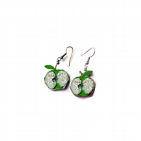 Whimsical resin Bramley Apple Drop Earrings by EllyMental