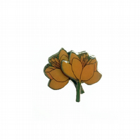Lovely layered Yellow Poppy Resin Flower Brooch by EllyMental