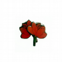 Lovely layered Red Orange Poppy Resin Flower Brooch by EllyMental