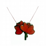 Lovely layered Red Orange Poppy Resin Flower Necklace Pendant by EllyMental