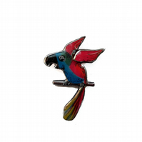 Bright Colourful Statement Pink Parrot Resin Brooch by EllyMental