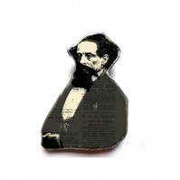Charles Dickens literary Author Brooch by EllyMental