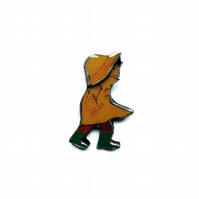Yellow Stormy vintage style Raincoat Boy Brooch by EllyMental