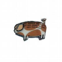 Literary Animal Farm Orwell Pig Brooch by EllyMental