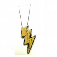 Yellow Lightening Bolt Queen Resin Necklace by EllyMental