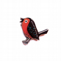 Rockin' Robin Bird Christmas Resin Brooch by EllyMental