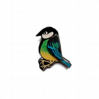 Beautiful Blue Tit Resin Bird Brooch by EllyMental