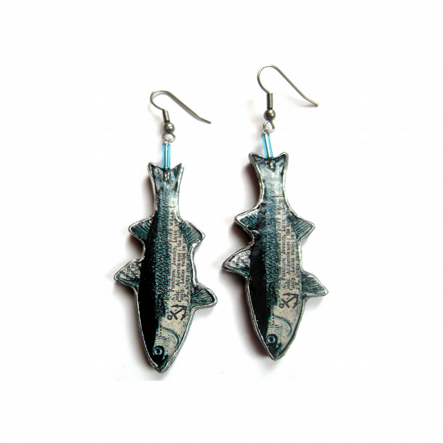 Whimsical nautical Fish Resin Earrings by EllyMental