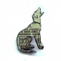 Howling Dog Brooch literary Victoriana style by EllyMental Jewellery
