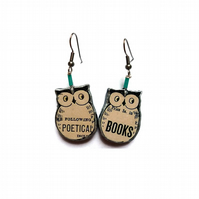 Literary Resin Book Owl bird  Earrings by EllyMental