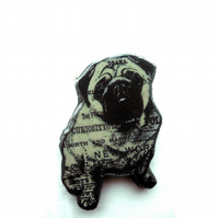 Literary kitsch Pug Dog Brooch by EllyMental