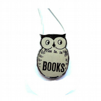 Whimsical Literary Owl resin Necklace by EllyMental