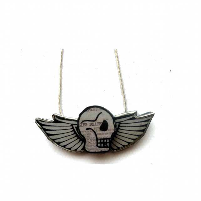 Skull & wings tattoo rockabilly inspired Necklace by EllyMental