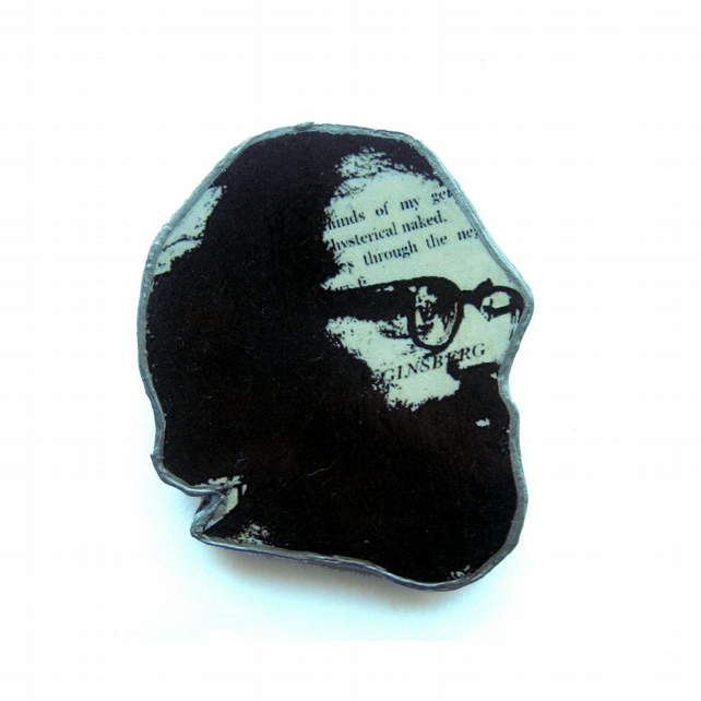 Literary Ginsberg beardy  man Resin Brooch by EllyMental