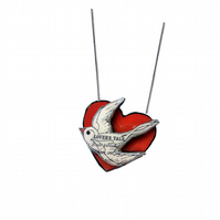 Whimsical romantic swallow & heart Resin Necklace by EllyMental
