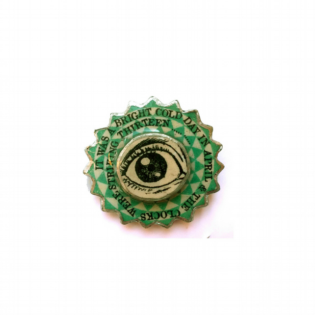 Literary Orwell 1984 Layered Eye Brooch by EllyMental