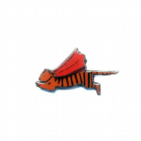 Quirky Bowie Flying Tiger 'We can be Heroes' Brooch by EllyMental