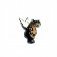 Large Fairytale Winged Angel Bear Brooch by EllyMental