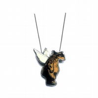 Quirky Winged Angel Bear Necklace Pendant by EllyMental