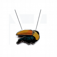 Toucan with layered beak chunky statement Necklace by EllyMental