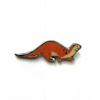 Lovely Tan Orange Otter Wildlife Resin Brooch by EllyMental