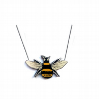 Whimsical Resin Bee Kind Pendant Necklace by EllyMental