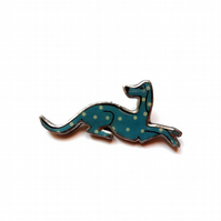 Whimsical Resin Blue Spotty Hound Dog Brooch by EllyMental