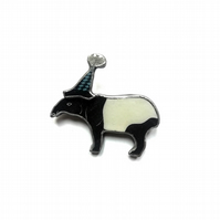 Wonderfully Whimsical Tapir in Bobble Hat Resin Brooch by EllyMental