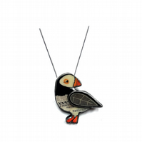 Wonderfully Whimsical Layered Puffin Scandi Necklace EllyMental