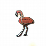 Statement Sweetheart Pink Flamingo Brooch by EllyMental