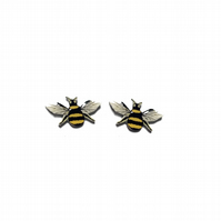 Lovely Bee Mini Ear Studs Whimsical resin Jewellery by EllyMental