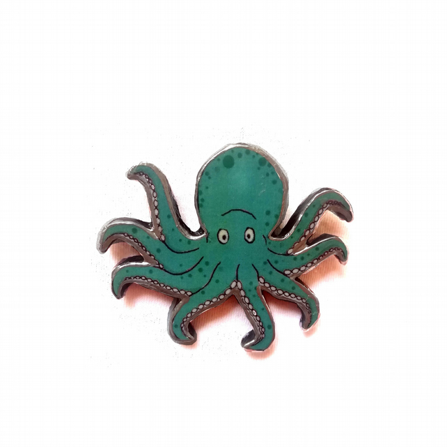 Wonderfully Whimsical Large Octopus Turquoise Brooch by EllyMental
