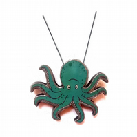 Wonderfully Whimsical Large Octopus Turquoise Necklace by EllyMental