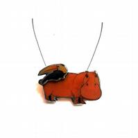 Whimsical Resin Hippo & Toucan Necklace by EllyMental