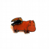 Whimsical Statement Resin Hippo & Toucan Brooch by EllyMental