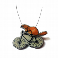 Large Statement Whimsical Resin Beaver on a Bicycle Necklace by EllyMental