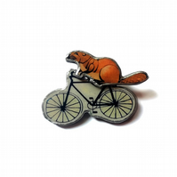 Large Statement Whimsical Resin Beaver on a Bicycle Brooch by EllyMental
