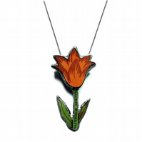 Bloomin' wonderful Layered Tulip Heart Resin Necklace by EllyMental