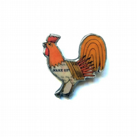 Colourful Cockerel 'Wake Up!' Resin Brooch by EllyMental