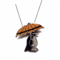 Wonderfully Whimsical Penguin & Umbrella Necklace by EllyMental