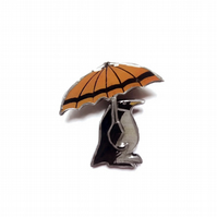 Wonderfully Whimsical Penguin & Umbrella Brooch by EllyMental