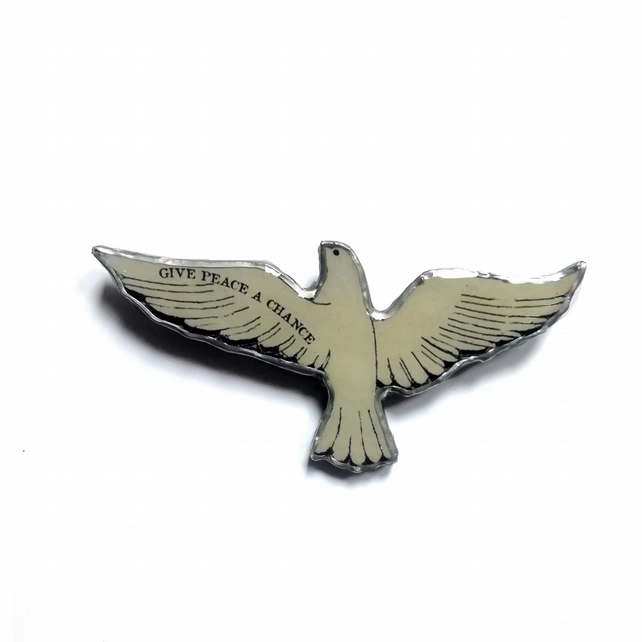 Large Statement 'Give Peace a Chance' Dove resin Brooch by EllyMental