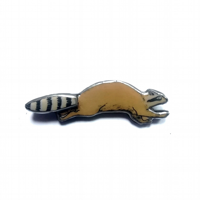 Wonderfully Whimsical Playful Raccoon Brooch by EllyMental