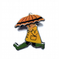 Running Yellow Raincoat Figure with Umbrella Statement Brooch by EllyMental