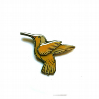 Wonderfully whimsical Yellow Hummingbird Resin Brooch by EllyMental